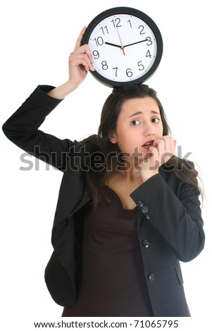Shocked businesswoman with clock over white