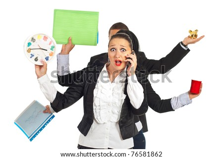 Shocked busy business woman talking by phone mobile isolated on white background