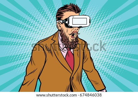 Shocked hipsters in VR glasses. Virtual reality gadget. Pop art retro  illustration