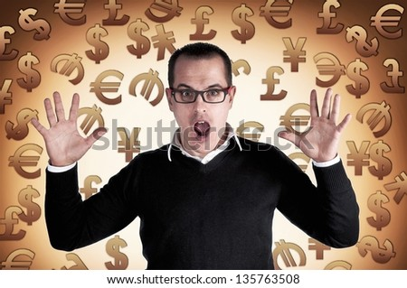 Shocked man with currency symbols background