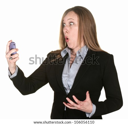 Shocked professional lady with telephone over white background