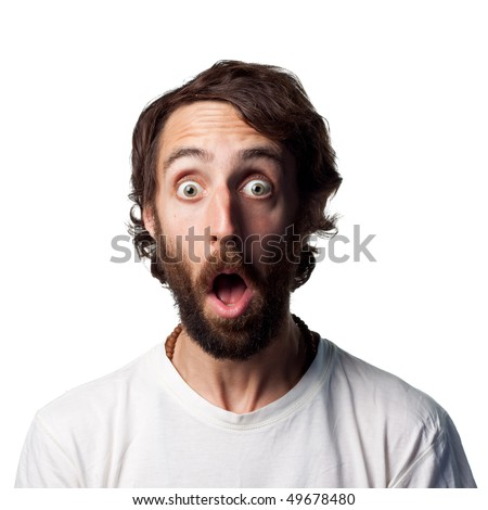 Shocked young isolated man