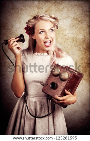 Shocked Young Woman Holding Old Wooden Box Phone While Working As A Telephone Operator In A Good News Or Bad News Concept