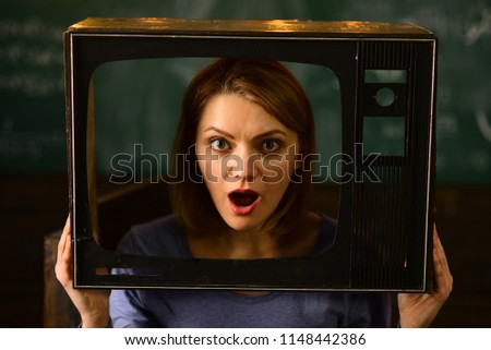 shocking news. woman journalist reporting shocking news. shocking news on tv. shocking news of the day. great tv show
