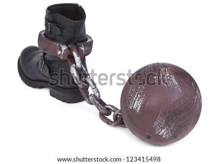 shoe and ball and chain on white