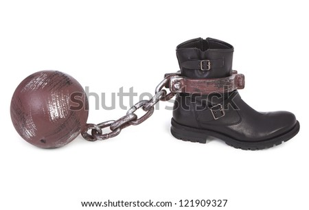 shoe and ball and chain over white background
