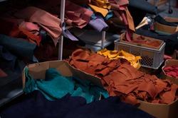 Shoe making process in footwear handmade  factory.