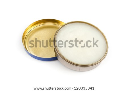 shoe polish isolated on a white, Polish in Open Flat Round Container White Background