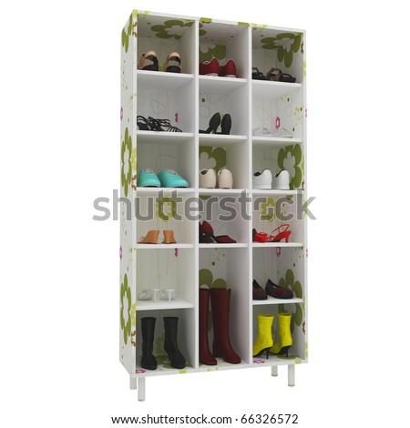shoe shelf with flower pattern. 3d render
