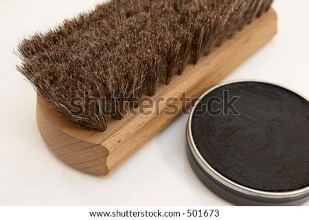 Shoe shine brush and paste