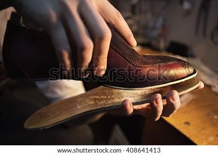 Shoemaker makes shoes for men.\ He sticks sole