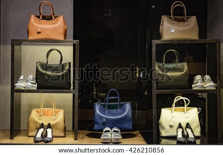 Shoes and handbags in a luxury fashion store