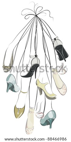 Shoes and legs hanging in a bunch. Raster variant.