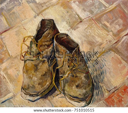 Shoes, by Vincent Van Gogh, 1888, Dutch Post-Impressionist, oil on canvas. These worn shoes were painted on the red-tile floor of the Yellow House, his home and studio in Arles