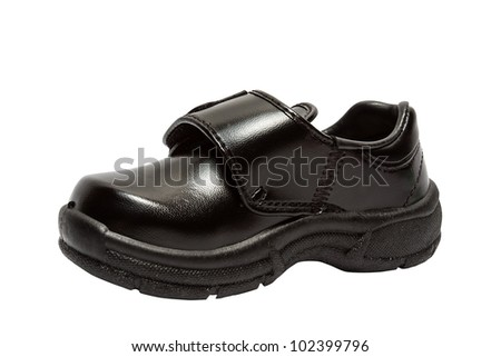 Shoes for children. Black shoes on a white background