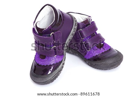 shoes for little girl over white background