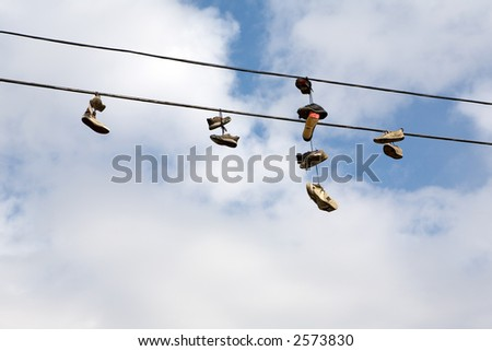 Shoes hanging from power lines are the stuff of urban legends