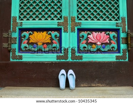 Shoes in front of Buddhist temple, Seoul, South Korea