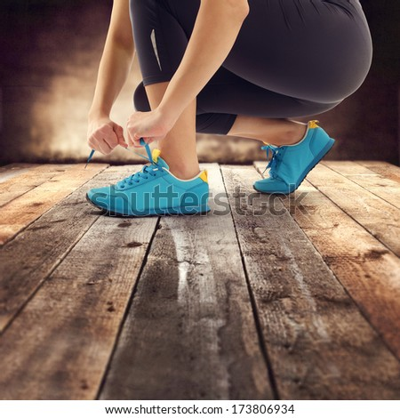 shoes of blue color and retro brown floor of wood