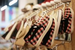 shoes on store. woman shoe model.