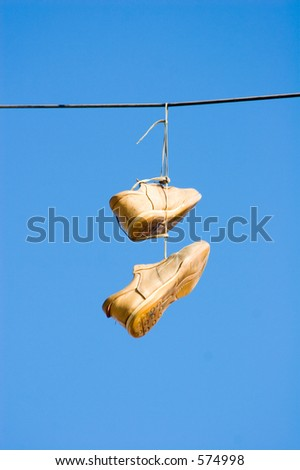 shoes on wire