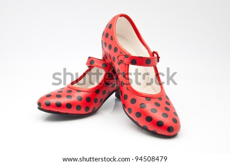 shoes Seville red with polka dots