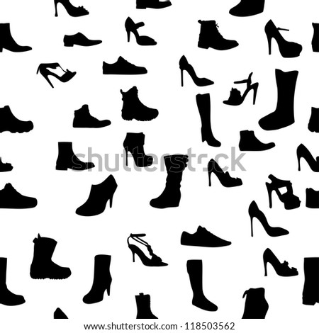 Shoes silhouette seamless pattern. Raster Version.