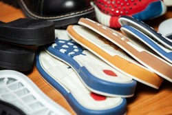 Shoes sole. A lot of different soles for shoes for tailoring shoes.