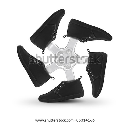 Shoes wheel, creative concept on white