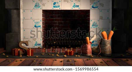 Shoes with carrots by the fireplace, for the traditional Dutch holiday Sinterklaas, 3D illustration.