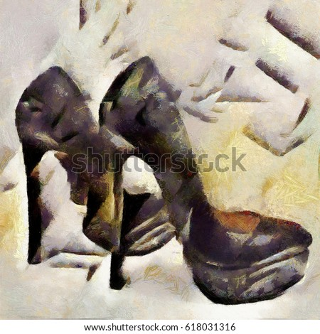 Shoes with high heels. Abstraction in modern style with elements of cubism. Executed in oil on canvas.