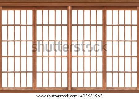 Shoji , Traditional Japanese door,window or room divider consisting  #403681963
