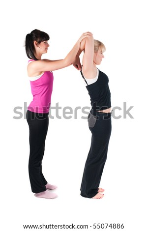 Shoot of two fitness instructors isolated on white