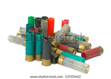 shooted multi-colored cartridges on a white background