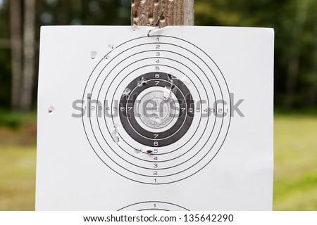 Shooting practice target with bullet holes