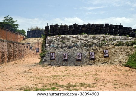 Shooting range in a military camp in Cambodia