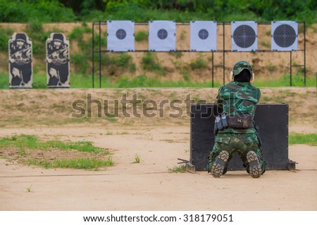 Shooting sports , female athletes ( Military) , during shooting a woman in the race , shooting , Shooting target,  (AARM 2015)