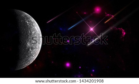 shooting star, Meteor, Billions of galaxies in the universe for background. Planets and galaxy, cosmos, physical, science fiction wallpaper. Deep space.