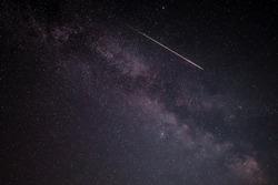 Shooting stars alongside the Milky Way