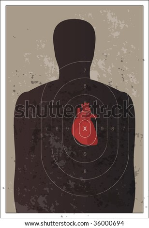 Shooting target with a human heart