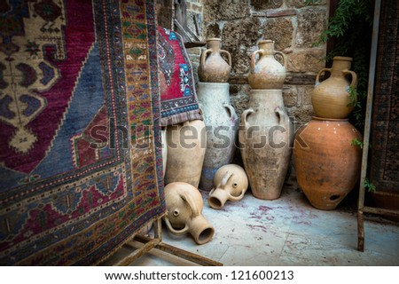 Shop antique rugs and dishes in Turkey. Antalya