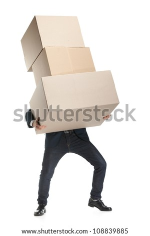 Shop assistant carries the heavy parcel, isolated, white background