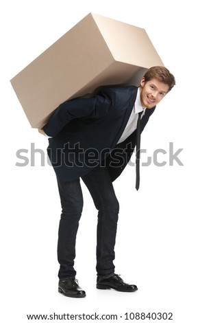 Shop assistant delivers the parcel, isolated, white background