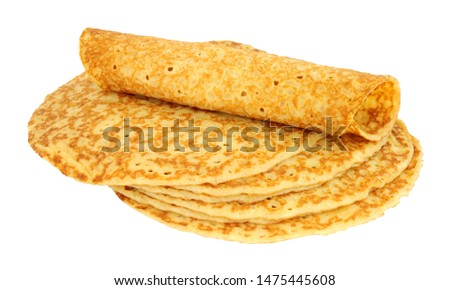 Shop bought mass produced savoury pancakes isolated on a white background