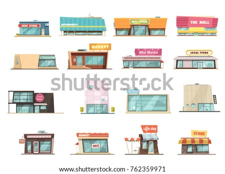shop building cartoon set with...