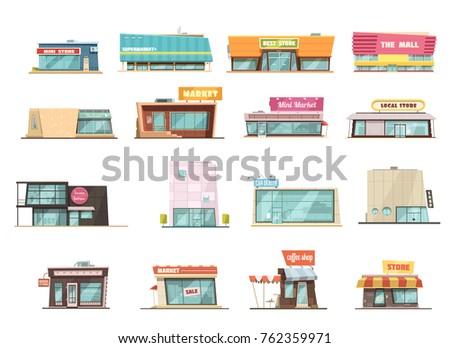 Shop building cartoon set with mini store symbols isolated  illustration