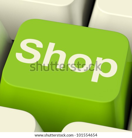 Shop Computer Key In Green Showing Commerce Or Retail Sales