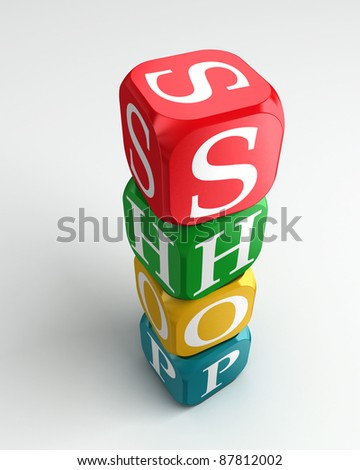 shop 3d colorful buzzword dice tower on white background - stock photo