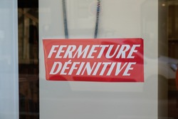 shop fermeture definitive french text means panel sign written final closure store