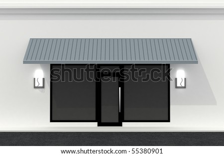 Shop front wall. Building exterior shopwindow empty for your product presentation, paste your shop, boutique, commercial.
